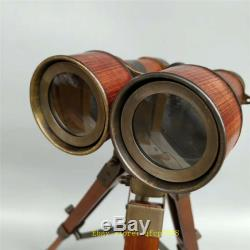 13.78 Vintage copper Leather Binocular telescope With Wooden Tripod Stand