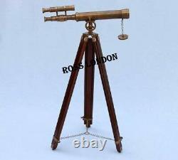 18 Brass Telescope Antique Floor Standing With Wooden Tripod Vintage Replica