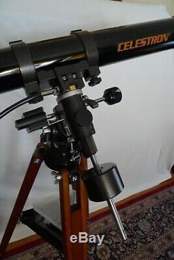 1980s Celestron C-80 Classic Vintage Telescope and Wooden Tripod by Vixen