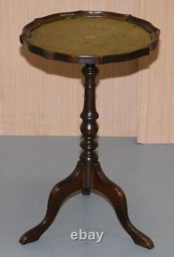 1 Of 2 Bevan Funell Green Leather Vintage Mahogany Tripod Lamp Side End Tables