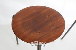 2 Fritz Hansen Jacobsen Vtg Mid Century Danish Modern Tripod Dot Stool Table DWR
