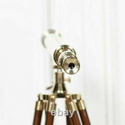 39 Inch Brass Vintage Golden Finish Nautical Telescope With Tripod Stand Decor