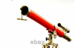 39 Inches Vintage Telescope on Wooden Tripod Floor Stand Nautical Sailor Decor
