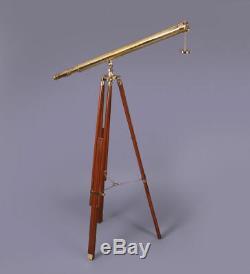 39 Maritime Telescope, Vintage Brass Monocular Telescope W Wooden Tripod Stand