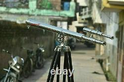 39 Vintage Brass Telescope With Wooden Tripod Stand Nautical Floor Standing