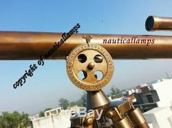39'' large Nautical Vintage Marine Brass Maritime Telescope With Tripod Stand