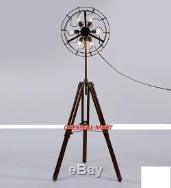 6 Holder Fan Lamp Fan Light with Solid Wooden Tripod Floor Vintage Home DecorGFT