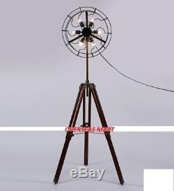 6 Holder Fan Lamp Fan Light with Solid Wooden Tripod Stand brass Floor Vintage
