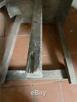 ANTIQUE Vintage CUTLERS WOODEN STOOL steel silver buffers seat folk art tripod