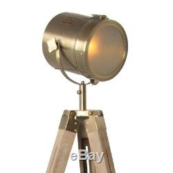 Adjustable Wooden Tripod Floor Lamp Brass Vintage Antique Bronze Spot Lights Fit