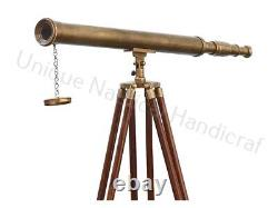 Antique Brass Brown Vintage 32 Inch Telescope With Brown Wooden Tripod Stand