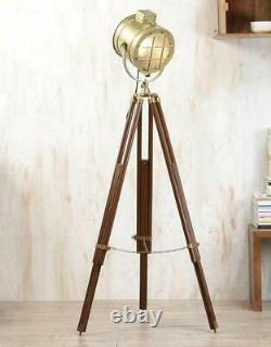 Antique Brass Designer Spotlight Floor Lamp Wooden Tripod Vintage Home Decor