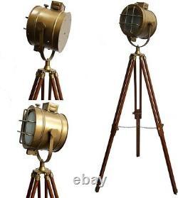 Antique Brass Designer Spotlight Floor Lamp Wooden Tripod Vintage Home Décor