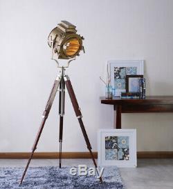 Antique Brass Finish Tripod Vintage Spotlight Retro Studio Wooden Floor Lamp