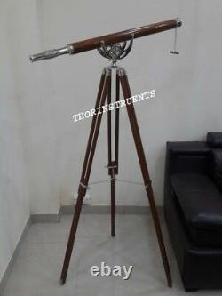Antique Brass Telescope With Brown Tripod Stand Vintage Home Decor