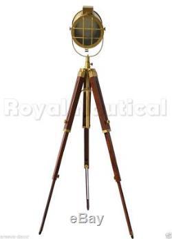 Antique Finish Floor Lamp Spotlight Nautical Vintage Wooden Lighting Tripod Lamp