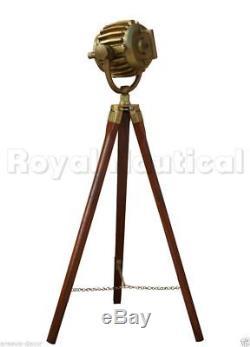Antique Finish Spotlight Tripod Nautical Teak Wooden Vintage Floor Lamp Decor