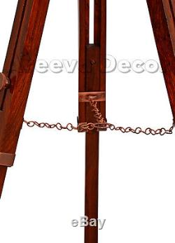 Antique Finish Vintage Wooden Spot light Nautical Wooden Tripod Floor Lamp Stand