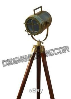 Antique Finish Vintage look Designer Decor Wooden Tripod Flood Lamp Spotlight