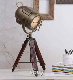 Antique Handmade Table SPOT LIGHT Tripod Stand Vintage Searchlight Home Decor