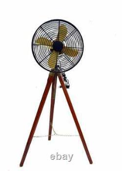 Antique Handmade Vintage Electric Wooden Tripod Fan Stand Pedestal Home Decor