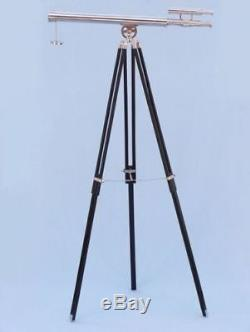 Antique-MARINE-NAVY-Nautical-Vintage-Telescope-Barrel-Black-Wooden-Tripod-Stand