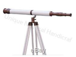Antique Nautical Solid Brass Telescope with Wooden Tripod Stand Vintage Leather