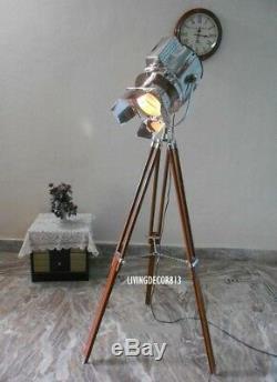 Antique Nautical Spotlight Wooden Tripod Floor Lamp Vintage Searchlight Lamp