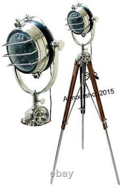 Antique Nautical Tripod Search Light Lamp Vintage Studio Spotlight Chrome