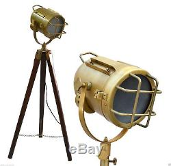 Antique Style Floor Lamp Vintage Style Wooden Tripod Searchlight Lamp Marine