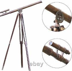 Antique Telescope Vintage Brass Harbor Master Floor Standing Tripod Stand 39