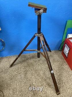 Antique Vintage Large Format Camera Wood Tilt Head Adjustable Tripod. Nice