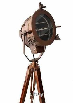 Antique Vintage Nautical Spotlight Floor Lamp Brown Tripod Home & Garden Decor