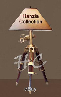 Antique Vintage Style Nautical Adjustable LED SURVEYOR'S Tripod Table Shade Lamp