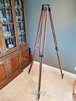 Antique Vintage Wood Sliding Leg Tripod Theodolite Surveyors Engineers Stand