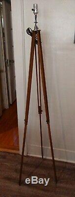 Antique Vintage Wood Surveyor Tripod Surveying Transit Lamp Base