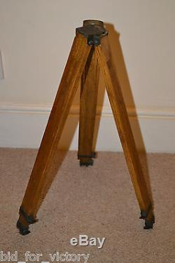 Antique Vintage Wooden Search Light Lighting Camera Stand Tripod Theodolite