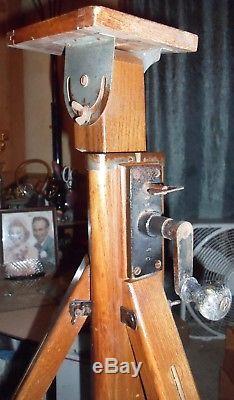 Antique Vtg Hand Crank Wood Adjustable Tripod FDK Camera Floor Lamp NICE Rare