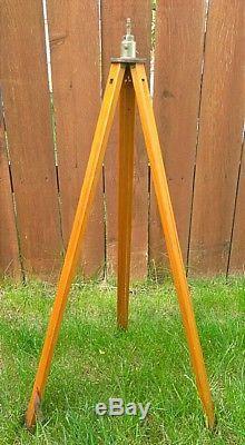 Antique Wooden Tripod R. A. Leet Co. Oakland Ca Adjustable Camera Vtg Old