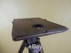 Antique Wooden and Brass Camera Tripod Adjustable Telescoping 3 Leg Vintage Wood
