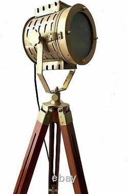 Antique vintage searchlight brass design spotlight on tripod nautical floor lamp