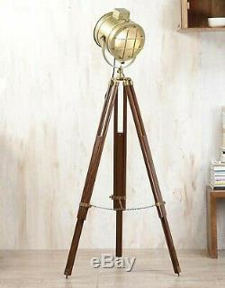 Antique vintage spotlight floor lamp with Tripod Wooden Stand from home decor