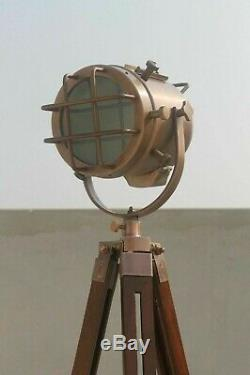 Antique vintage spotlight floor lamp with wooden tripod Stand for home decor