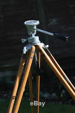 Beautiful Paillard Bolex vintage wooden Tripod 16mm movie tripod