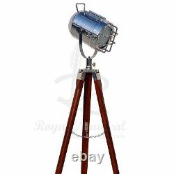 Beautiful Vintage Floor Lamp Spotlight Stage Theater Nautical Theme Tripod Light