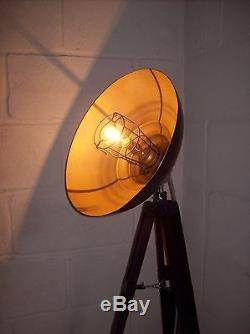 Bespoke Vintage Industrial Style Wooden Tripod Floor/Standard Lamp