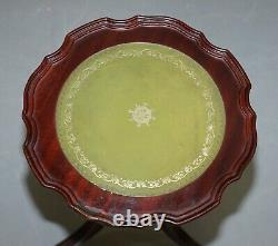 Bevan Funell Charming Green Leather Vintage Mahogany Tripod Lamp Side End Table
