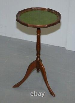 Bevan Funell England Green Leather Vintage Mahogany Tripod Lamp Side End Table