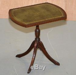 Bevan Funell Green Leather Vintage Mahogany Tripod Lamp Side End Wine Table