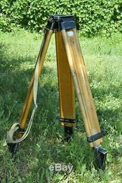 Big Vintage Wooden Soviet folding TRIPOD SR-160 for level theodolite camera